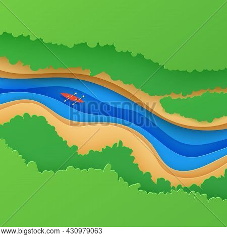 Top View Landscape In Paper Cut Style. Eco Tourism 3d Background With Aerial View River Green Trees