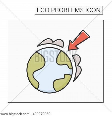 Ozone Layer Color Icon. Earth Globe With Arrow. Concept Of Ozone Screen Depletion, Global Warming, W
