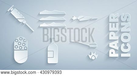 Set Alcohol Drink Bottle, Marijuana Joint, Medicine Pill Or Tablet, Heroin Spoon, Cocaine Heroin Dru