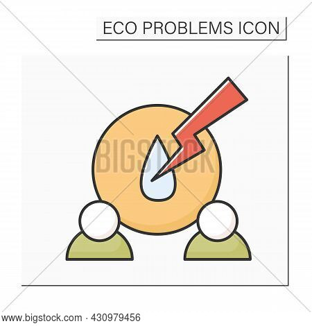 Water Shortage Color Icon. People With Liquid Drop And Strike. Concept Of Resources Shortage, Drinki