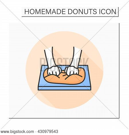Dough Kneading Color Icon. Hands Beating Bread Or Pastry Dough, Developing Gluten. Concept Of Bread,