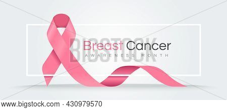 Breast Cancer Awareness Month Text On White Frame With Pink Ribbon Sign Waving Around  Vector Design