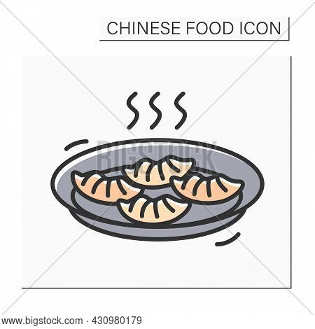 Dim Sum Color Icon. Tasty Steaming Hot Chinese Dimsum Dumplings Or Baozi Steamed Buns Plate. Concept