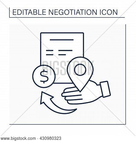 Starting Point Line Icon. Position For Beginning Collaboration. Commercial Deal. Negotiation Concept