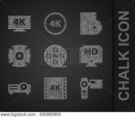 Set Film Reel, 4k Movie, Tape, Frame, Cinema Camera, Monitor With Hd Video, Movie, Film, Media Proje