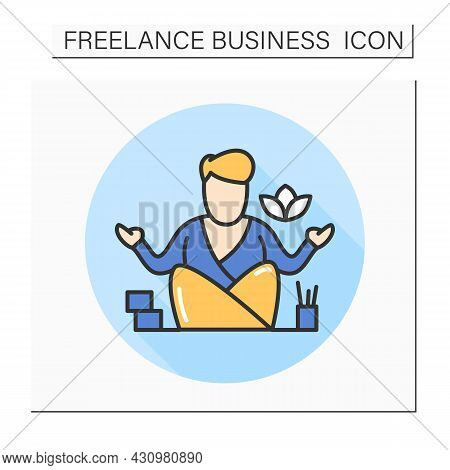 Home Office Color Icon.freelance.man Working At Home.comfortable Workplace. Freelancer Lifestyle.iso