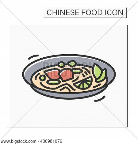 Chinese Style Soup Color Icon. Hot And Sour Pork Broth Stew Plate. Concept Of Rich Asian Flavor In E