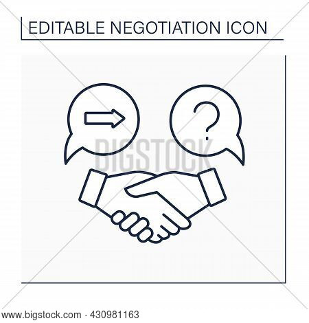 Counter Offer Line Icon. Response To An Advantageous Proposal. Deal With A Handshake. Commercial Pro