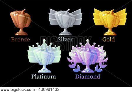 Pumpkin Rewards, Gold, Silver, Platinum, Bronze, Diamond For Game. Vector Illustration Set Different