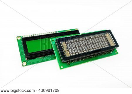 Vacuum Fluorescent Display Vfd And Liquid Crystal Display Lcd On White Background