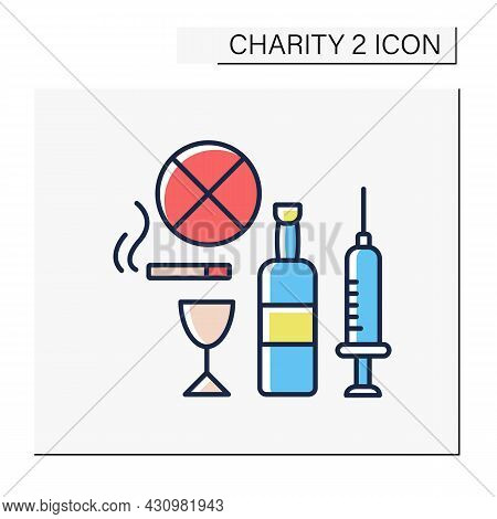 Help Color Icon. Drug, Alcohol And Abuse Charities. Organizations Help People With Treatment, Mental