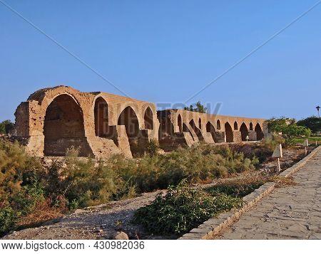 Remains Of Band-e Kaisar Or Bridge Of Valerian, Ancient Arch Bridge, Shushtar, Iran. Total Length Of