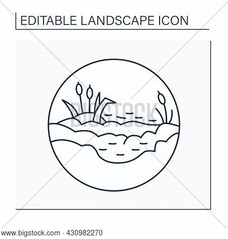 Marsh Line Icon.waterlogged Land. Low-lying Land Flooded In Wet Seasons. Swamp. Landscape Concept.is