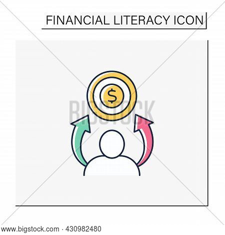 Financial Aspirations Color Icon.personal, Big-picture Objectives. Financial Goals. Financial Litera