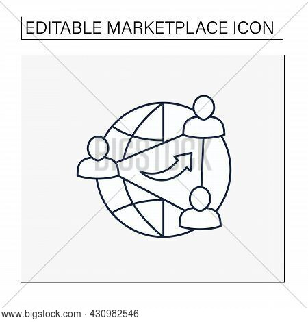 Network Effects Line Icon.company Product Or Service Becomes More Valuable As Usage Increases.global