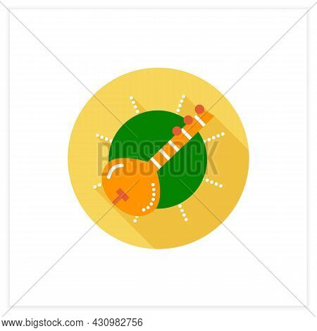 Sitar Flat Icon. Indian Traditional String Musical Instrument. Indian Classical Music. Hindu Music.