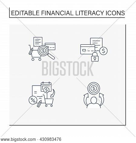 Financial Literacy Line Icons Set. Tracking Spending, Fixed Expenses, Spending Plan, Financial Aspir
