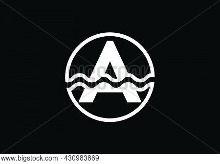 Initial A Monogram Alphabet In A Circle With Water Waves. Water Wave Logo Design. Logo For The Ocean