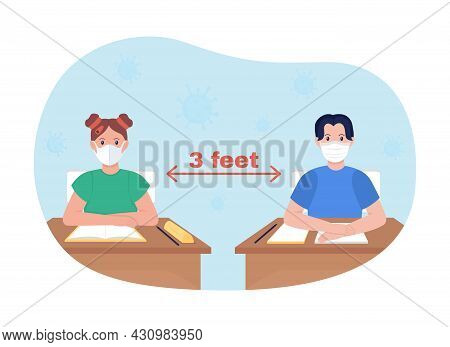 School Lesson Distancing 2d Vector Isolated Illustration. Students Keep Social Distance Between Thei