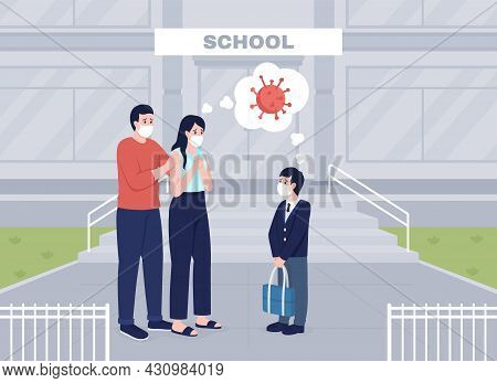 Worried Parents See Their Son Off To Lessons Flat Color Vector Illustration. Group Of People In Face