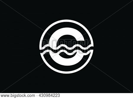 Initial C Monogram Alphabet In A Circle With Water Waves. Water Wave Logo Design. Logo For The Ocean