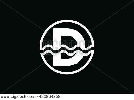 Initial D Monogram Alphabet In A Circle With Water Waves. Water Wave Logo Design. Logo For The Ocean
