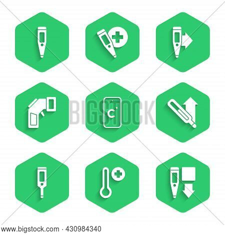 Set Celsius, Meteorology Thermometer, Digital, Medical, And Icon. Vector