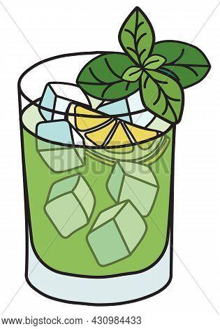 Stylish Hand-drawn Doodle Cartoon Hipster Style Cool Fresh Green Gin Basil Smash Cocktail Garnished