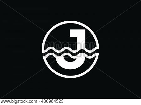 Initial J Monogram Alphabet In A Circle With Water Waves. Water Wave Logo Design. Logo For The Ocean