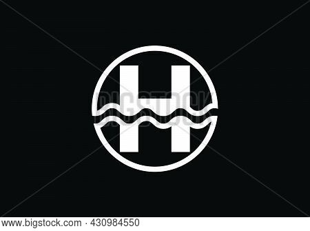 Initial H Monogram Alphabet In A Circle With Water Waves. Water Wave Logo Design. Logo For The Ocean