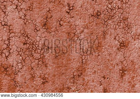 Texture Of Rough Painted Terracotta Wall Cracked From Time, Vintage Weathered Background