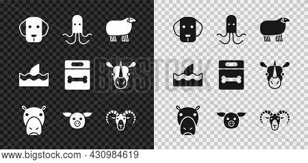 Set Dog, Octopus, Sheep, Hippo Or Hippopotamus, Pig, Head Of Goat Ram, Shark Fin In Ocean Wave And B