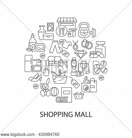 Shopping Goods Abstract Linear Concept Layout With Headline. Clothing And Household Items. Store Pro