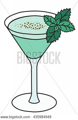 Stylish Hand-drawn Green Sweet Grasshopper Cocktail In Martini Glass Garnished With A Branch Of Mint