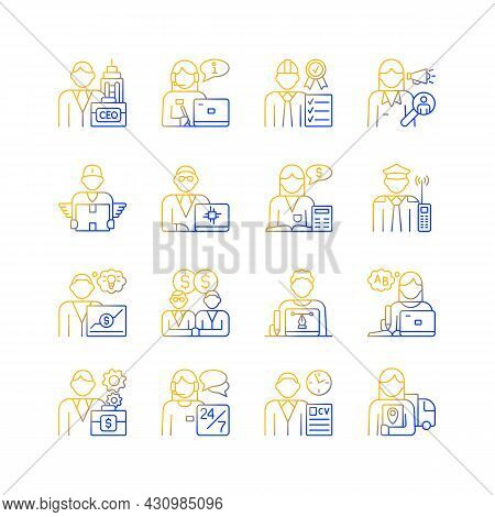 Company Staff Related Gradient Linear Vector Icons Set. Chief Executive Officer. Customer Support. C