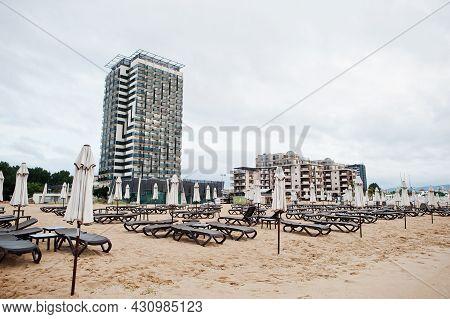 Sunny Beach, Bulgaria - June 17, 2021: Hotel Burgas Beach. Resort Sunny Beach Bulgaria View Of The B