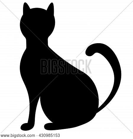 Black Cat. Silhouette. Vector Illustration. Outline On An Isolated Background. Flat Style. Sketch. A