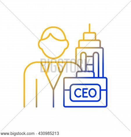 Chief Executive Gradient Linear Vector Icon. Ceo Of Corporation. Chief Executive Officer. Leader Car