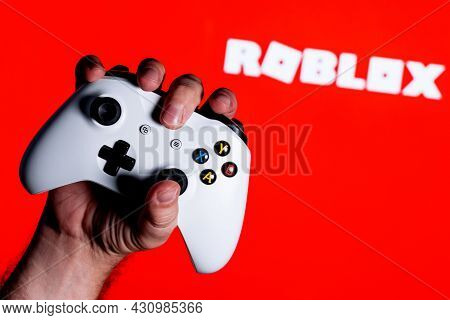 Kazan, Russia - August 25, 2021: Roblox Is An Online Game Platform And Game Creation System. A White