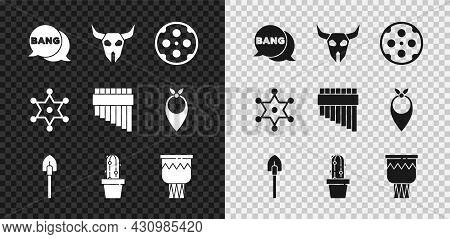 Set Bang Boom, Gun Comic, Buffalo Skull, Revolver Cylinder, Shovel, Cactus Peyote Pot, Drum, Hexagra