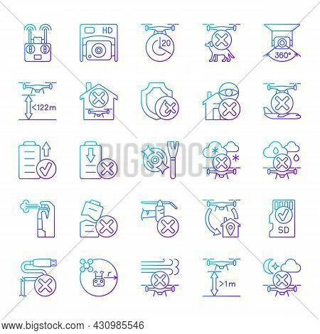 Drone Usage Gradient Linear Vector Manual Label Icons Set. Drone Flight Restriction. Thin Line Conto