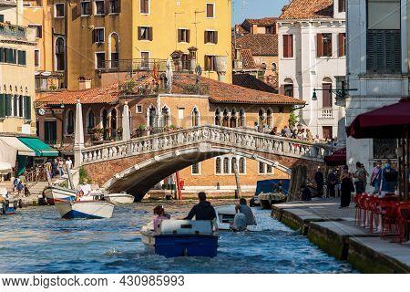 Venice, Italy - June 2, 2021: Ponte Delle Guglie (bridge Of The Spires - 1580) Over The Cannaregio C