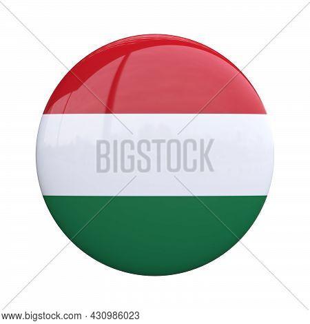 Hungary National Flag Badge, Nationality Pin 3d Rendering