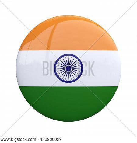 India National Flag Badge, Nationality Pin 3d Rendering