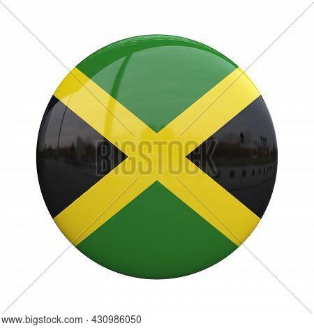 Jamaica National Flag Badge, Nationality Pin 3d Rendering