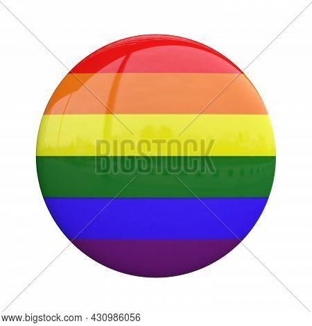 Lgbt Badge, Rainbow Flag Pin 3d Rendering