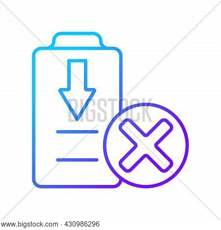 Dont Fully Drain Batteries Gradient Linear Vector Manual Label Icon. Damage Risk. Thin Line Color Sy