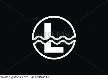 Initial L Monogram Alphabet In A Circle With Water Waves. Water Wave Logo Design. Logo For The Ocean