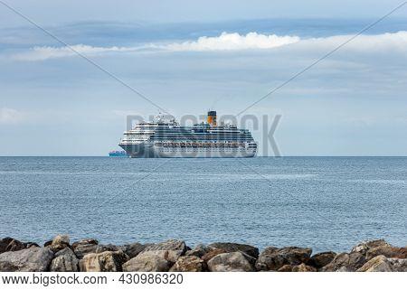 La Spezia, Italy - July 8, 2021: Costa Fascinosa Cruise Ship Moored In The Harbor Of The Gulf Of La