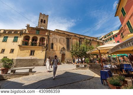 Monterosso Al Mare, Italy - July 8, 2021: Monterosso Al Mare Village With The Church Of Saint John T